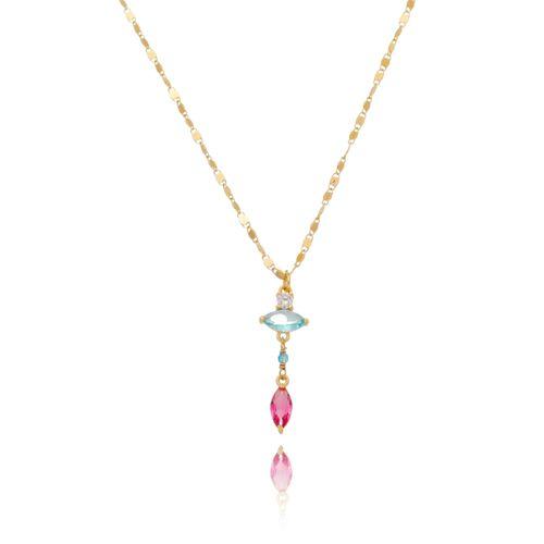 Colar-Flor-em-Pedras-Navetes-Coloridas-Azul-Pink-e-Branca-em-Banho-de-Ouro