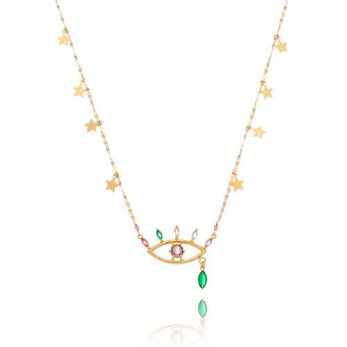 Colar-Olho-Grego-Estrelar-com-Navetes-Coloridas-Azul-Verde-Pink-Lilas-Rose-e-Estrelas-Penduradas-em-Banho-de-Ouro