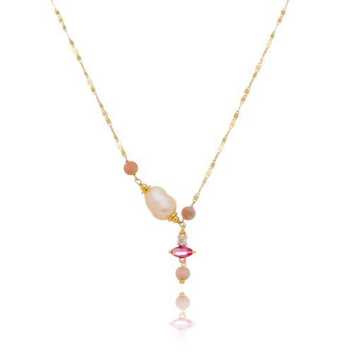 Colar-Chocker-com-Pedras-Coloridas-Pink-Rosa-e-Branca-e-Perola-Barroca-em-Banho-de-Ouro
