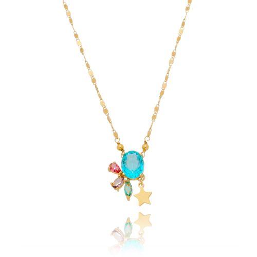 Colar-Flor-em-Pedras-Coloridas-Azul-Pink-Lilas-e-Verde-com-Estrela-em-Banho-de-Ouro