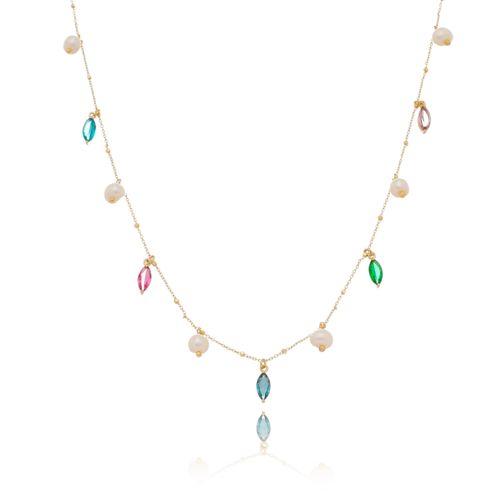 Gargantilha-Chocker-com-Navetes-Pedras-Coloridas-Azul-Pink-Lilas-e-Verde-e-Perolas-Barrocas-em-Banho-de-Ouro