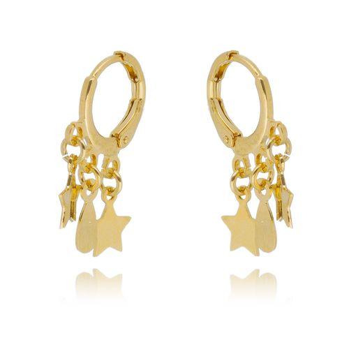 Brinco-Argola-Estrelas-e-Gota-em-Banho-de-Ouro