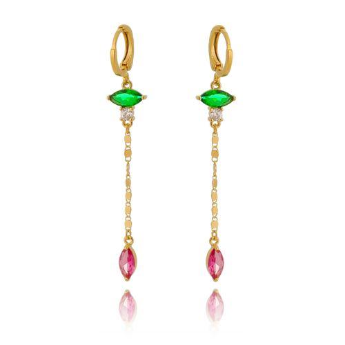 Brinco-Colors-Longo-com-Navetes-Verde-e-Pink-e-Corrente-em-Banho-de-Ouro