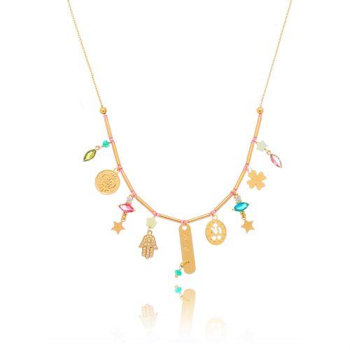 Gargantilha-Chocker-Mistic-com-Olho-Grego-Mao-de-Fatima-Trevo-com-Pedras-Coloridas-Azul-Verde-Pink-e-Rose-em-Banho-de-Ouro
