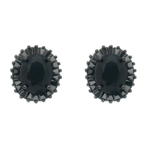 Brinco-Stud--com-Zirconias-e-Cristal-Negro-em-Prata-e-Rodio-Negro
