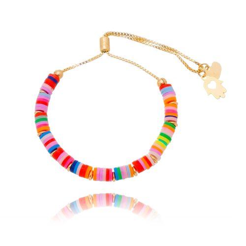 Pulseira-Disco-Colors-e-Detalhes-de-Mao-de-Fatima-e-Coracao-em-Banho-de-Ouro