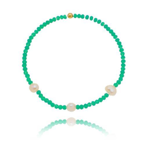 Pulseira-Colors-Cristal-Verde-Agua-e-Perolas-Naturais-Irregulares-e-Detalhes-em-Banho-de-Ouro