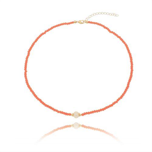 Gargantilha-Colors-Coral-com-Perola-e-Detalhes-em-Banho-de-Ouro