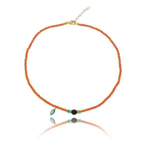 Gargantilha-Colors-Coral-Pedras-azuis-e-Detalhes-em-Banho-de-Ouro